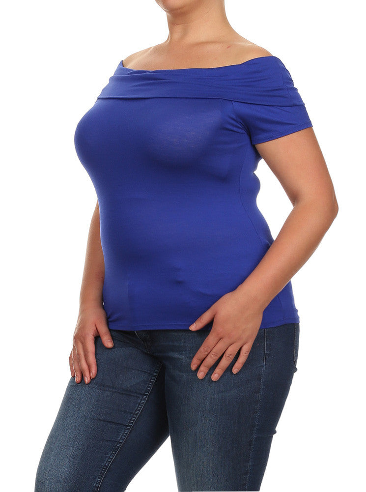 Plus Size Coquette Off the Shoulders Blue Top