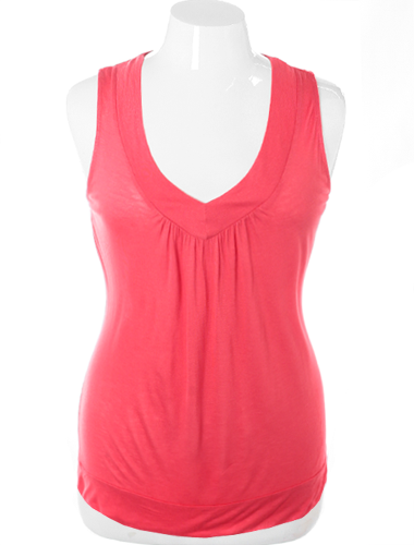 Plus Size Lace Back V Neck Pink Top