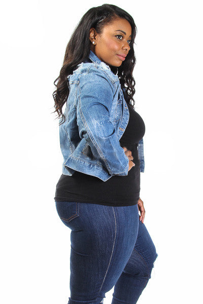 Hollywood Distress Plus Size Denim Jacket