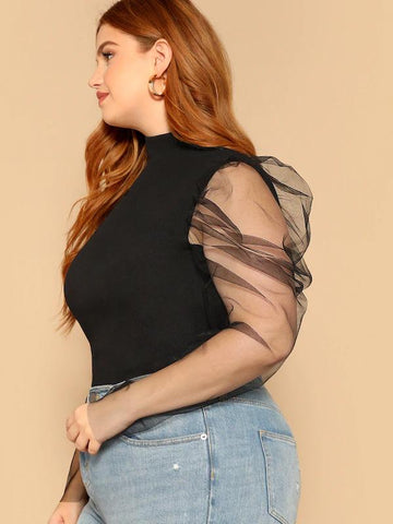 Plus Size Mesh Puff Sleeve Mock-Neck Tee