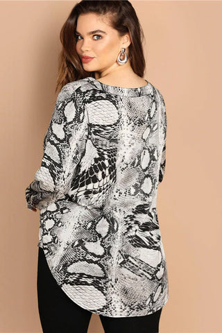 Plus Size Designer Exotic Snake Print Long Sleeve Top