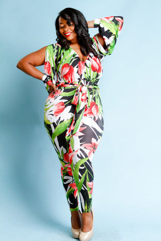 Plus Size Sexy Tropical  Surplice Slit Sleeved Tie Jumpsuit