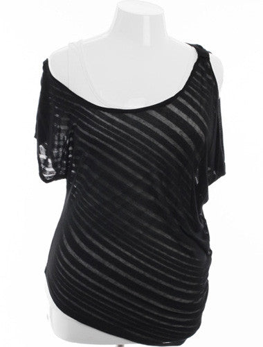 Plus Size See Through Summer Layered Black Top