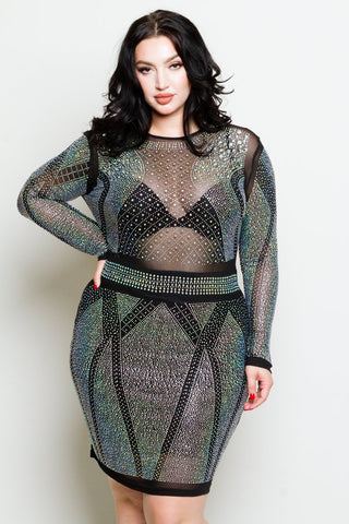 Plus Size Embellished Mesh Mini Dress