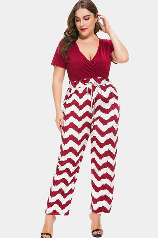 Plus Size High Waist Chevron Print Jumpsuit