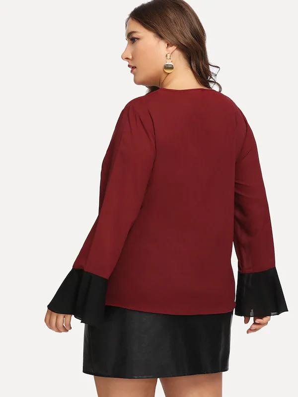 Plus Size Contrast Panel Flounce Sleeve Blouse