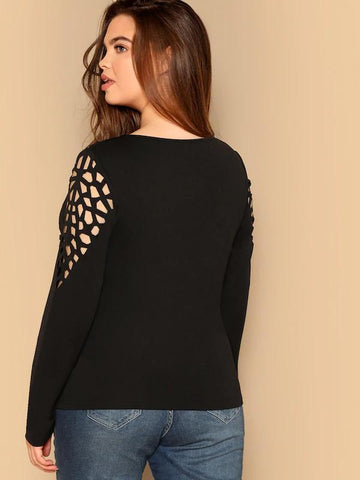 Plus Size Cut-Out Form Fitting Geo Tee