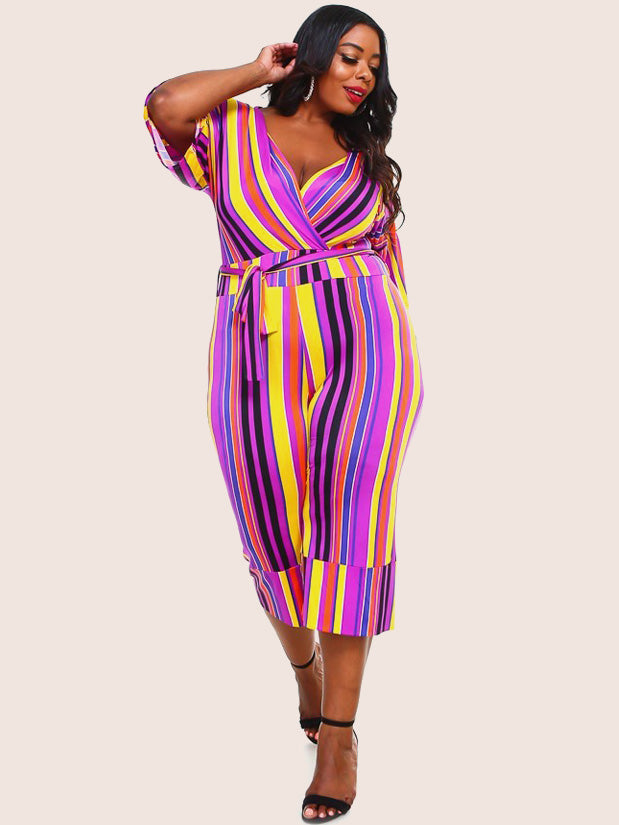 Plus Size Colorful Stripe Belt Tie Jumpsuit