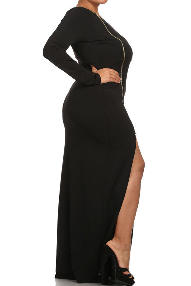 Plus Size Sexy One Sleeve Zipper Maxi Dress