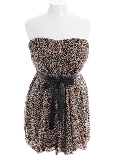Plus Size Sexy Lace Diva Leopard Belted Tube Dress