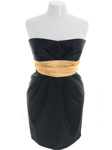 Plus Size Diva Sexy Gold Tube Event Dress