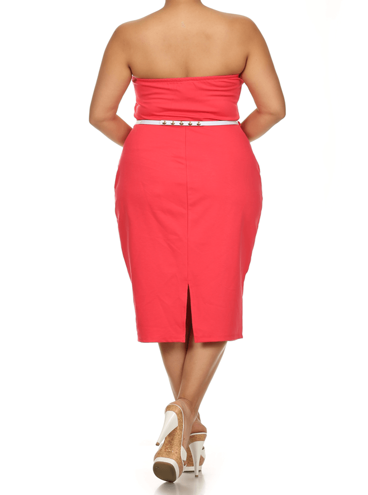 Plus Size Own The Night Cross Over Coral Dress