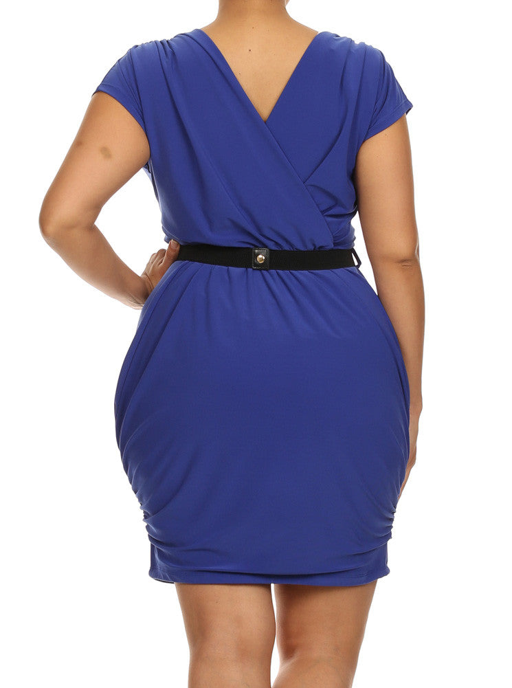 Plus Size Captivating Ruched Belted Blue Dress