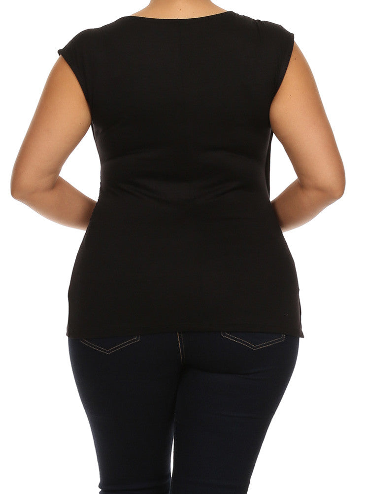 Plus Size Chic Drapey Cross Over Black Top