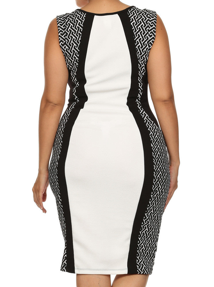 Plus Size Charming Color Block Maze Print Dress
