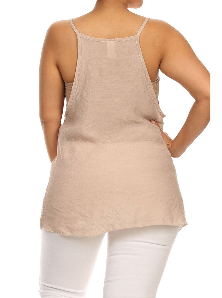 Plus Size Lovely Peasant Tan Flowy Top