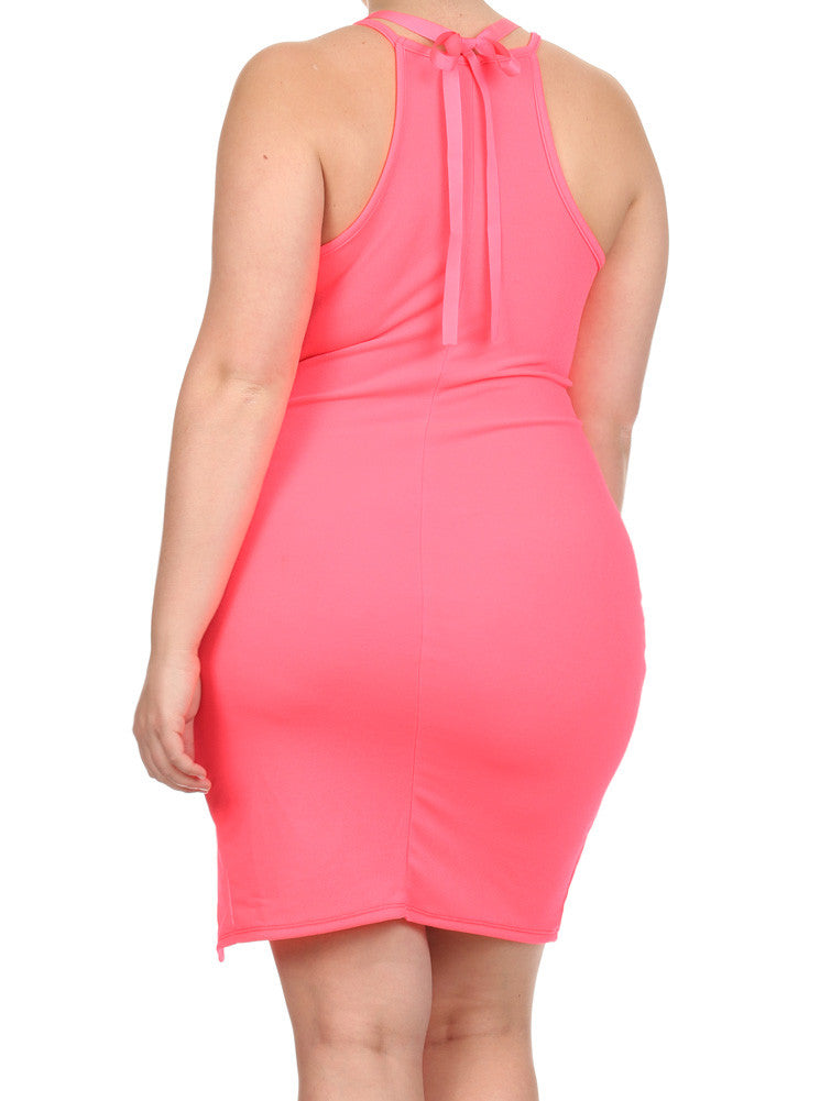 Plus Size Glam Princess Pink Bodycon Dress
