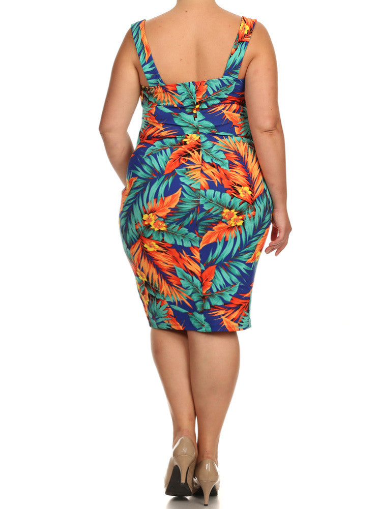 Plus Size Tropical Heaven Teal Dress