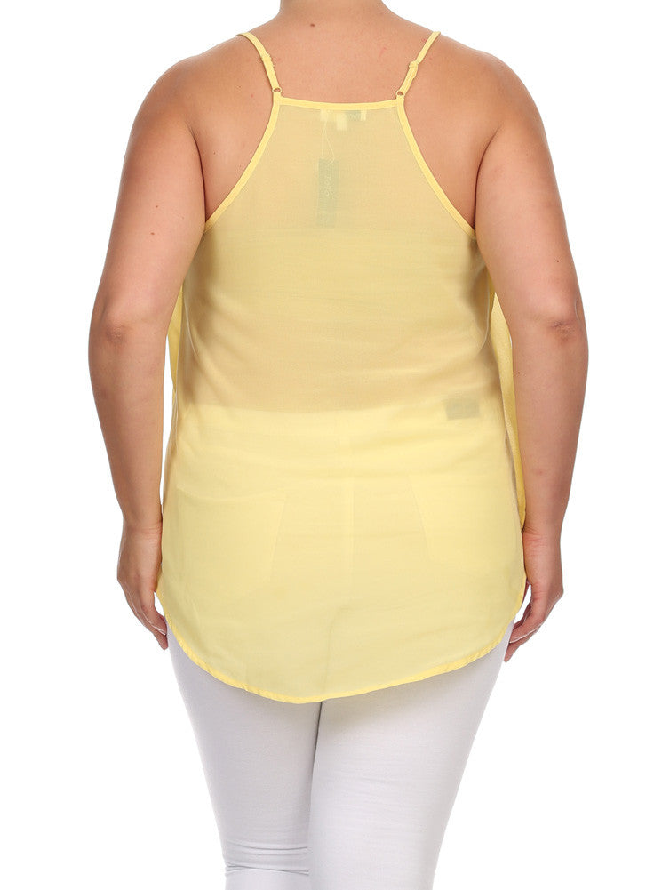 Plus Size Gold Chain Neckline Sheer Yellow Top