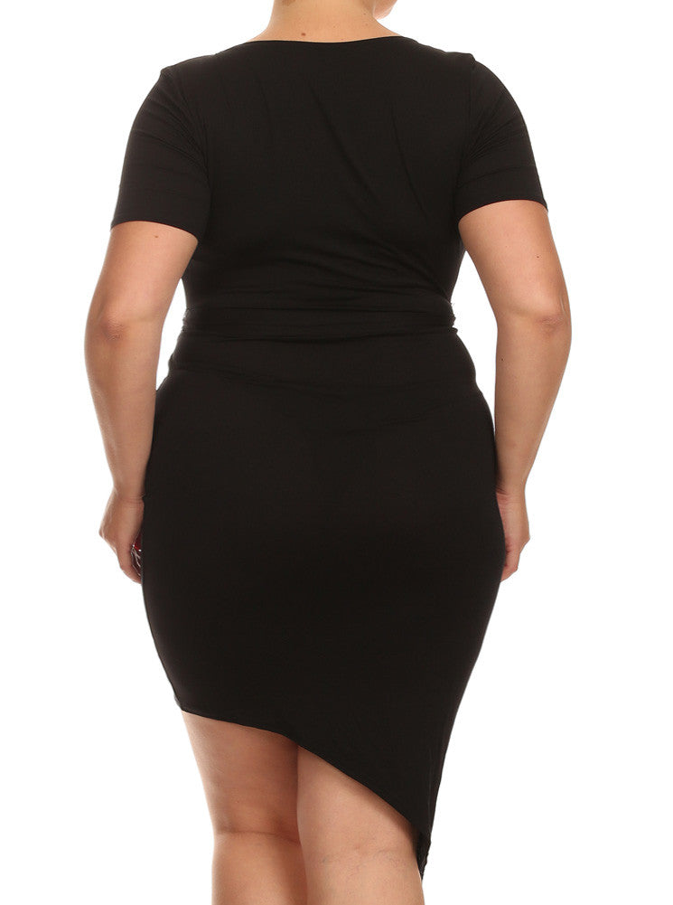 Plus Size V Neck Black Dress