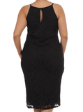 Plus Size Mesmerizing Floral Lace Midi Black Dress