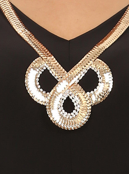 Plus Size Goddess Gold Necklace Black Top