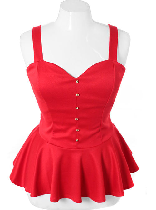 Plus Size Open Back Peplum Red Top