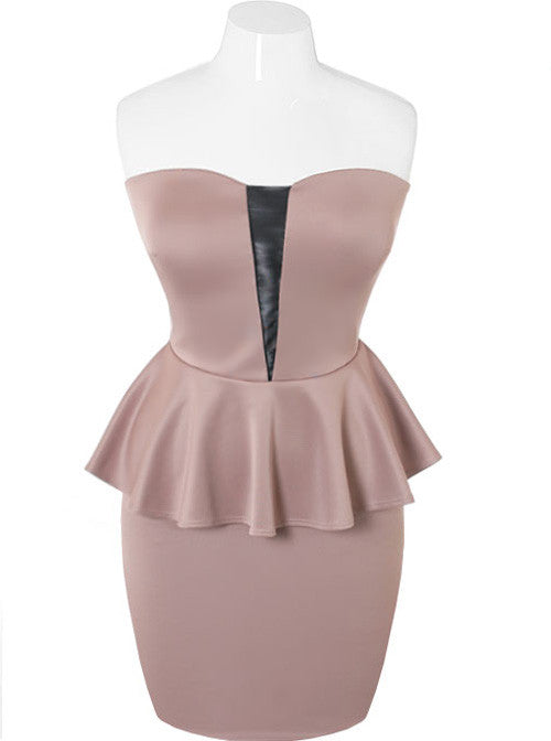 Plus Size Peplum Taupe Tube Dress