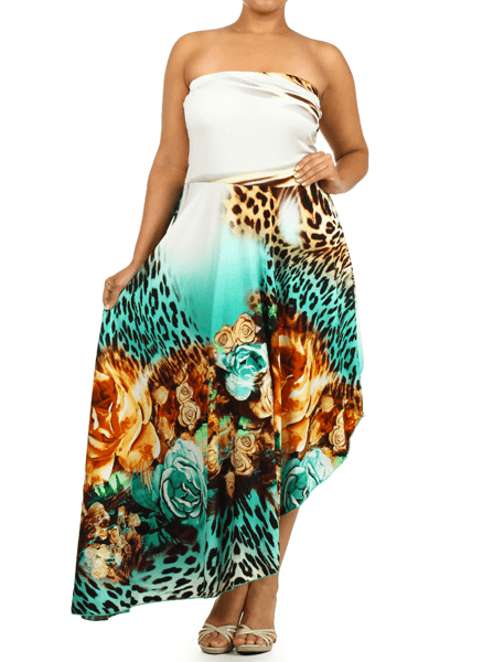 Plus Size Fabulous Strapless Leopard Rose Teal Dress