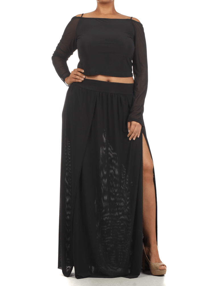Plus Size Sexy Crop Top Scuba Mesh Black Skirt Set