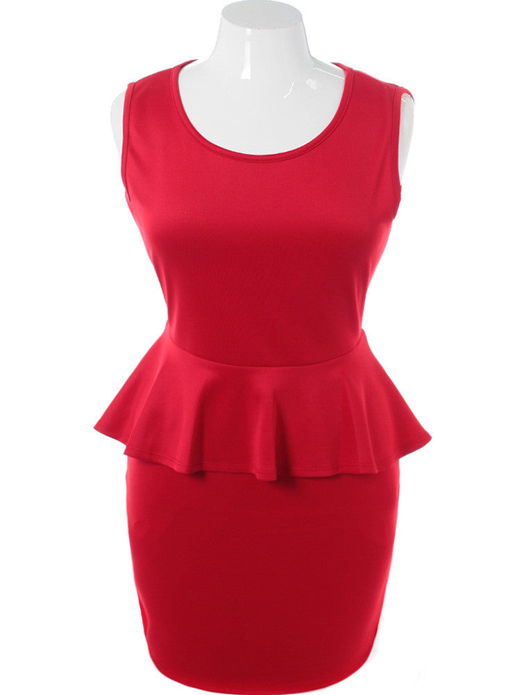 Plus Size See Through Back Peplum Red Dress