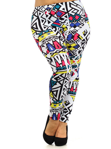 Plus Size Trendy Pop Art Leggings
