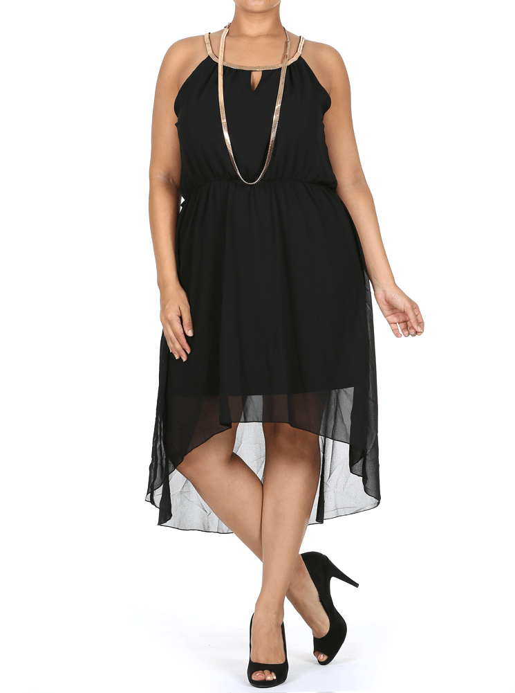 Plus Size Gilded Neckline Dip Hem Black Chiffon Dress