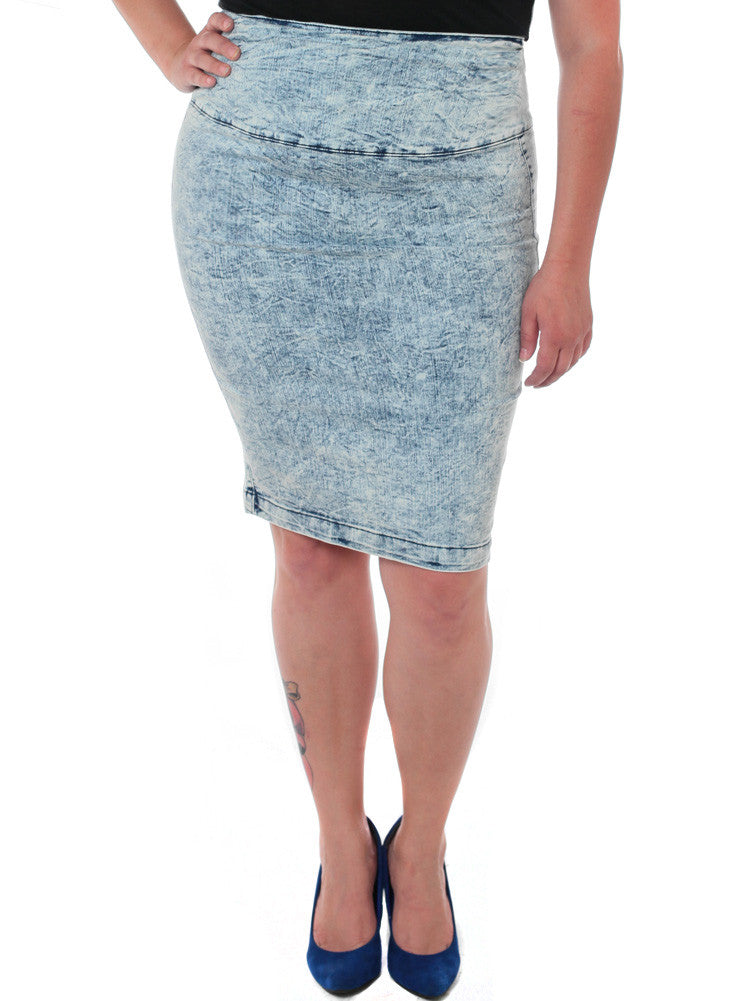 Plus Size Acid Wash Light Denim Skirt