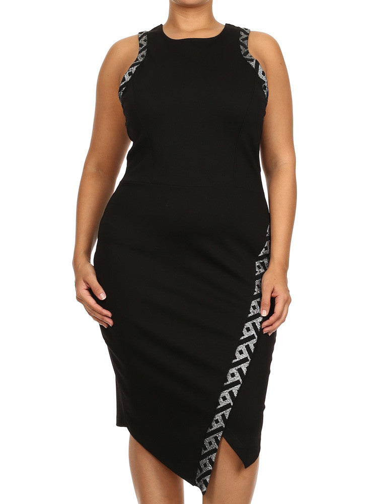 Plus Size Cutaway Neckline Silver Foil Jagged Midi Dress