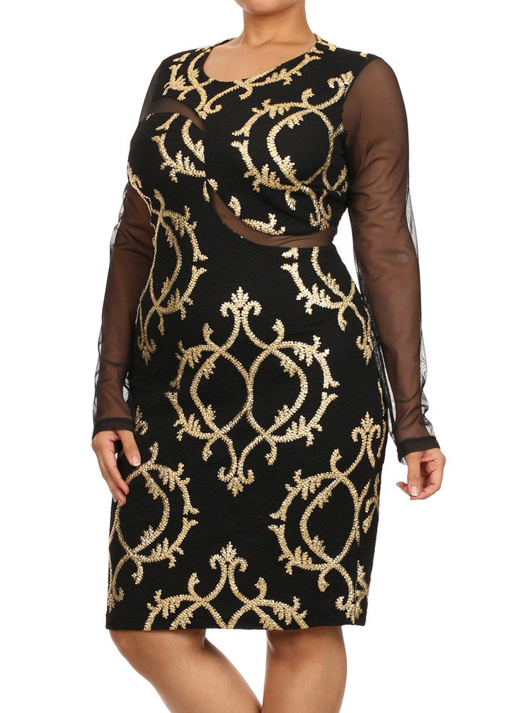 Plus Size Textured Gold Scroll Mesh Sleeves Midi Dress