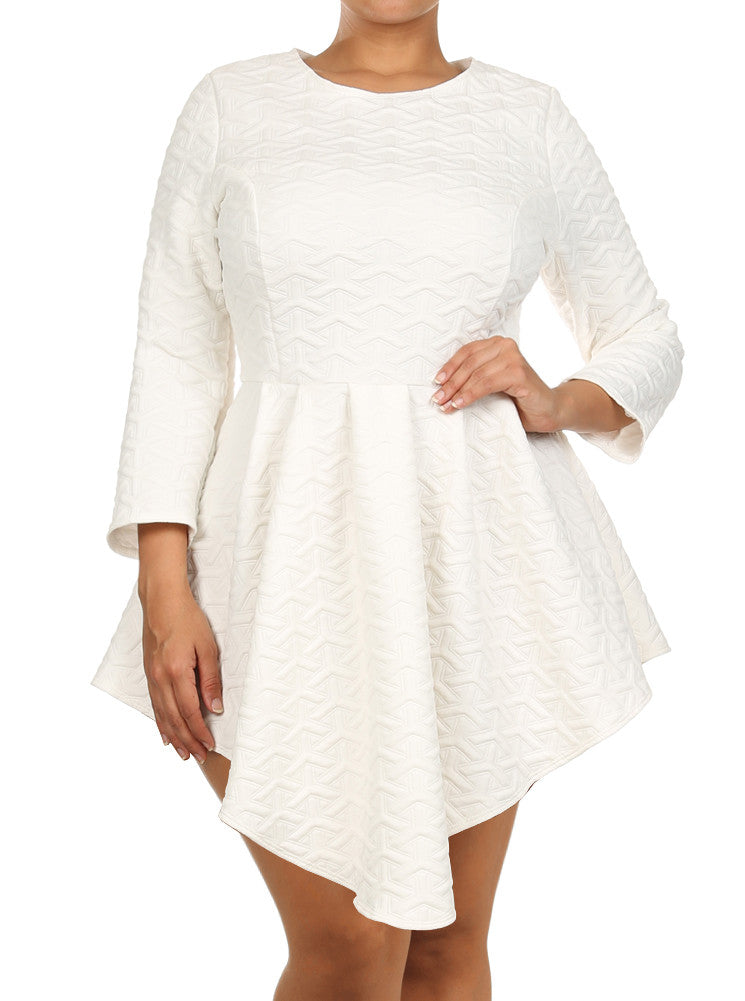 Plus Size Soft Diamond Pattern Skater White Dress