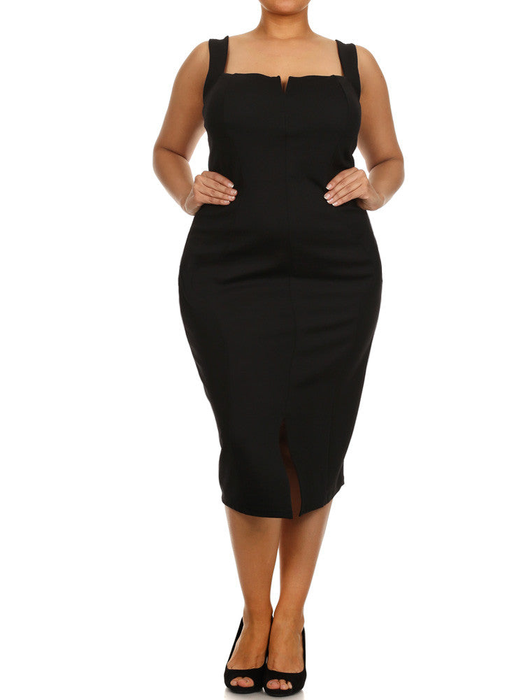 Plus Size Plunging Neckline Black Midi Dress – Plussizefix