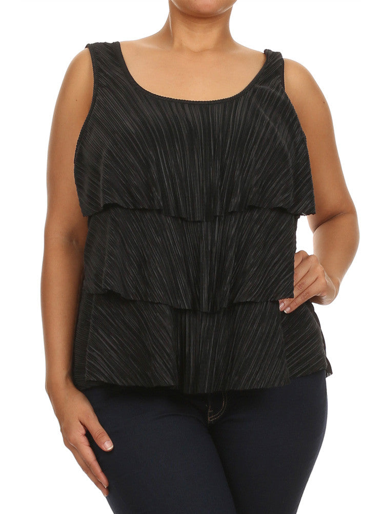 Plus Size Modish Layered Flowy Black Top