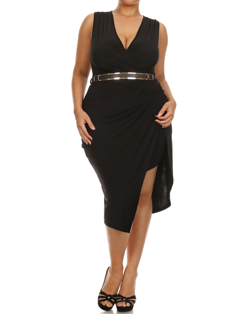 Plus Size Designer Chiffon Belted Black Dress
