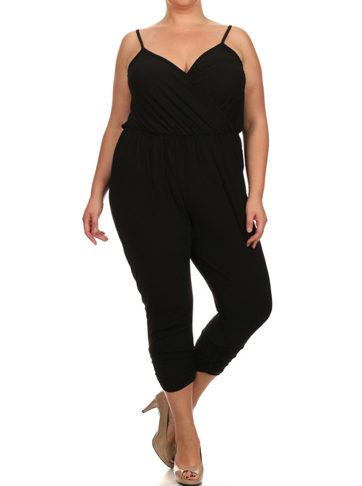 Plus Size Dashing Surplice Neckline Black Jumpsuit