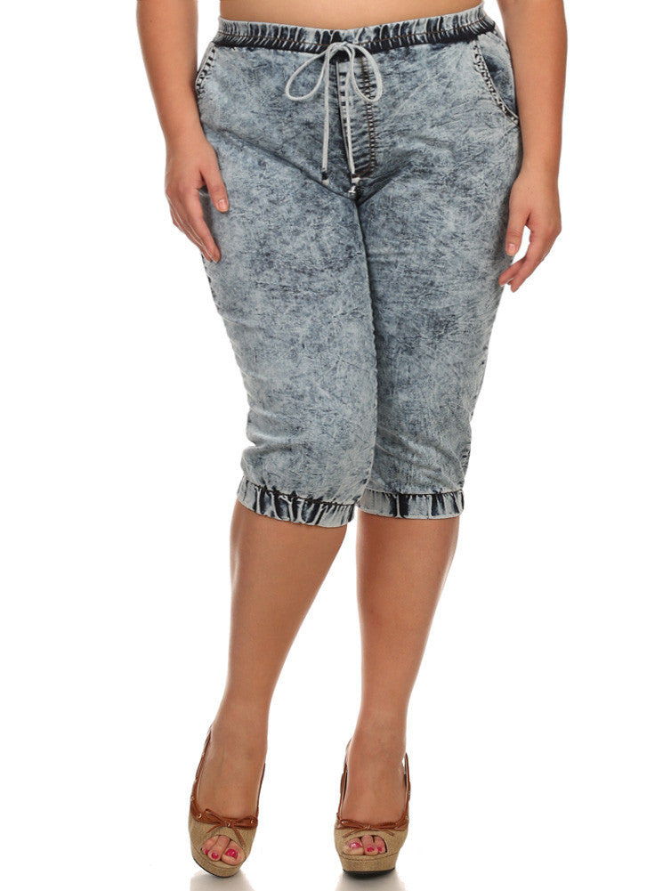 Plus Size Acid Wash Denim Short Joggers