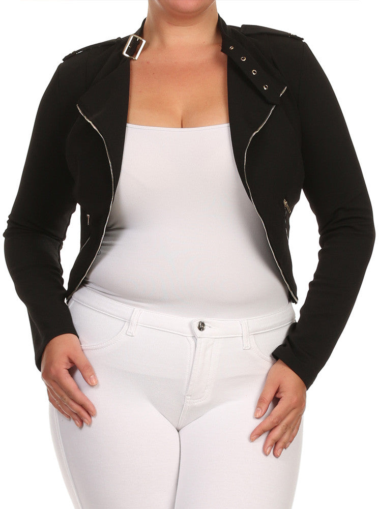 Plus Size City Girl Knit Textured Moto Black Jacket