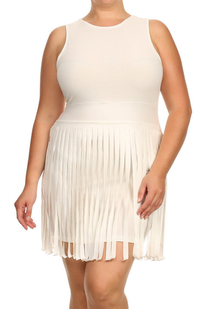 5127cfd9da6ff Plus Size Sway In Faux Leather Fringe Off White Dress – Plussizefix