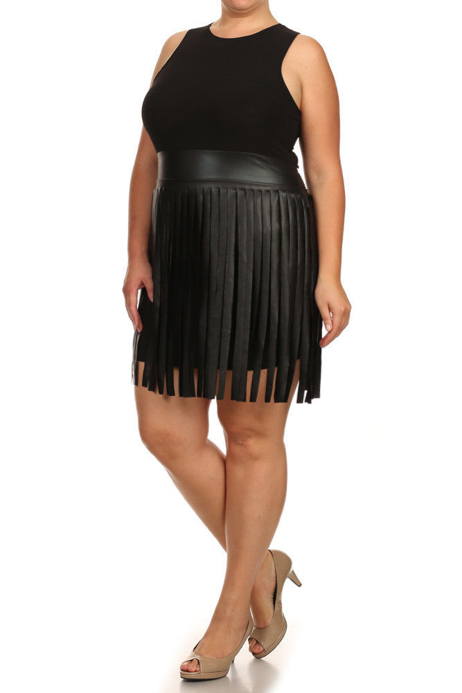 Plus Size Sway In Faux Leather Fringe Black Dress