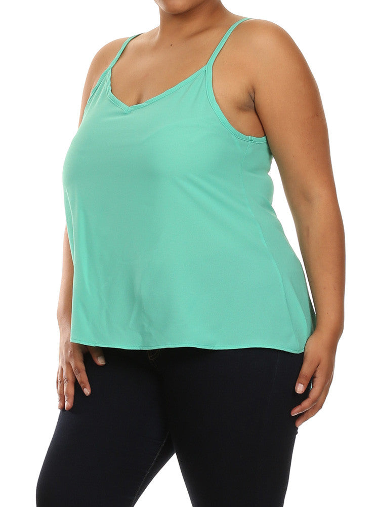 Plus Size Sexy Butterfly Back Mint Sheer Cami