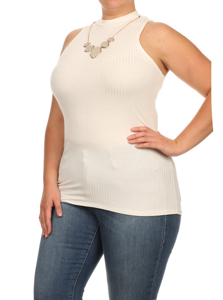 Plus Size Gem Mock Turtle Neck Ribbed Off White Top