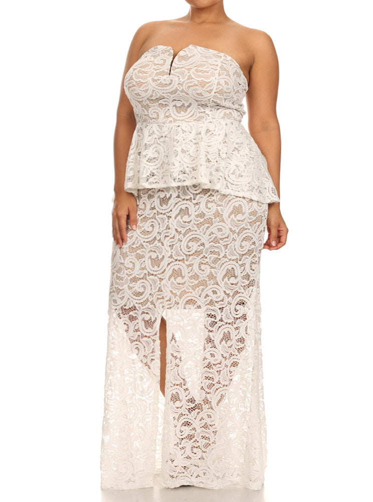 Plus Size Victorian Knit Lace Peplum White Maxi Dress