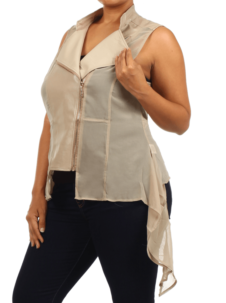 Plus Size Sexy Leather Sheer Taupe Vest