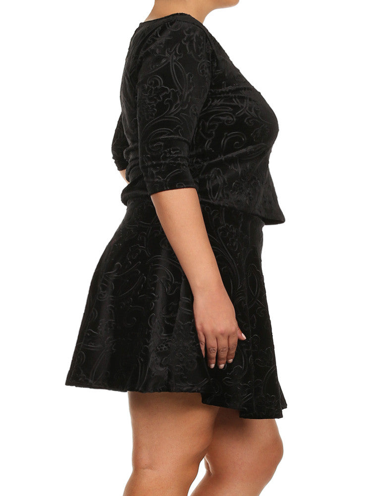 Plus Size Velvet Floral Print Black Skirt Set
